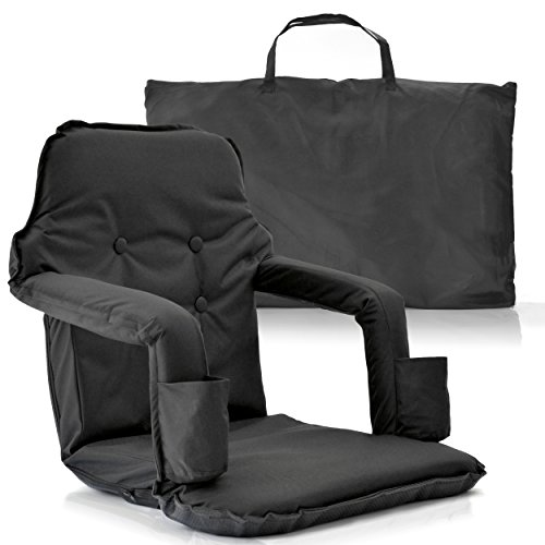 Extra Wide Reclining Stadium Seat – New Deluxe Model + Free Carry Bag – Water Resistant + Thick Padded Seat Cushions & armrest + 2 Drink Holders– For Maximum Comfort by Smart Ideas 4 Life (Black) (Navy Blue Padded Recliner)