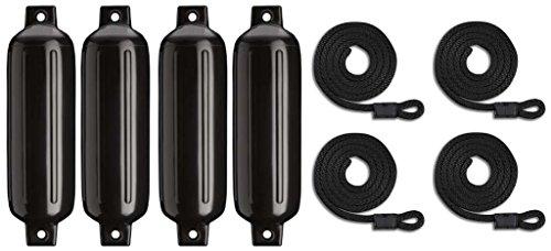 mad-dog-products-4-pack-black-g4-ribbed-boat-fender-bumper-pack-w-fender-lines
