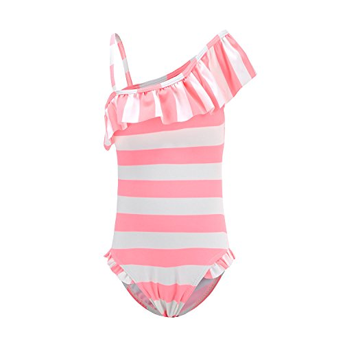 Girls One Piece Bathing Suit (HowJoJo Girls One Piece Swimsuits One Shoulder Pink Stripes Swimwear Ruffle Bathing Suit Pink 5T)