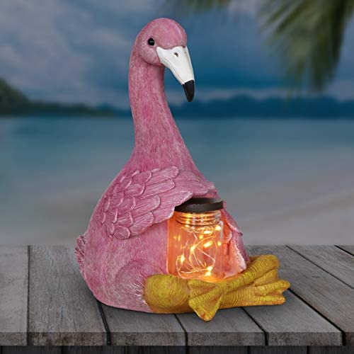 Exhart Sitting Pink Flamingo Garden Statue Holding a Solar Glass Jar w/ 6 LED Firefly Lights Flamingo Resin Statue Holding a Mason Jar w/LED Firefly String Lights Flamingo Decor