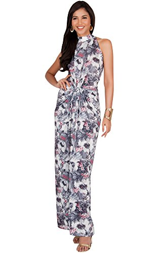 5b4269df8ea KOH KOH Plus Size Womens Long Casual Cute Flowy Sleeveless Summer Floral  Print Sexy Vintage Halter-Neck Cocktail Sun Sundress Sundresses Gown Gowns  Maxi ...