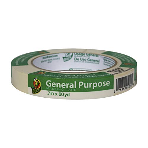 Duck Brand 394689 General Purpose Masking Tape, 0.7-Inch by 60-Yard, Single Roll, ()