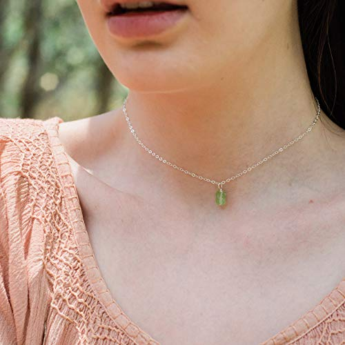 Tiny raw peridot gemstone pendant choker necklace in 925 sterling silver - 12