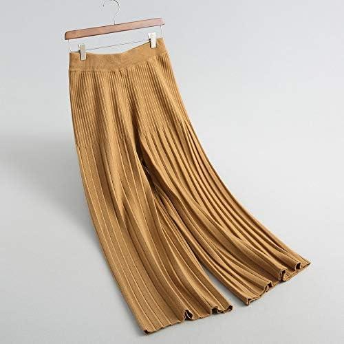 KTKZSS Pantalones de Pierna Ancha Plisada Tejer Cintura Alta ...