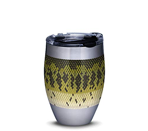 Tervis 1324042 Largemouth Bass Pattern Insulated Travel Tumbler with Lid, 12oz - Stainless Steel, Silver