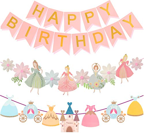 (Princess Birthday Decoration | Princess Birthday Banner | Pink Happy Birthday Banner | Pink and Gold Birthday Party Decorations | Princess & Flower shape birthday party banner | Princess Home)