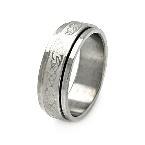 Stainless Steel 8mm High Polish Celtic Design Spinner Fashion Band Ring - Size 9
