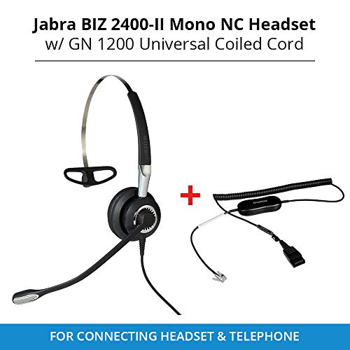 Jabra Biz 2400-II Mono NC Headset with GN 1200 Universal Coiled Smart Cord for Connecting Headset & Telephone