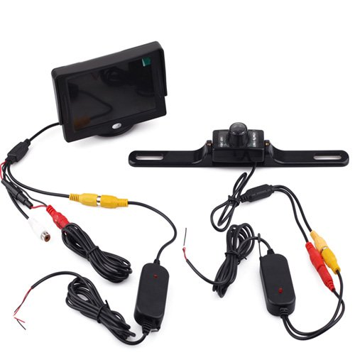Simply Silver - New Waterproof Car Rear View System Wireless Backup Camera with 4.3'' TFT LCD Monitor