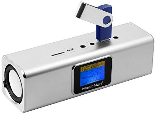 Musicman MA Soundstation Stereo-Lautsprecher mit integriertem Akku und LCD Display (MP3 Player, Radio, MicroSD Kartenslot,USB Steckplatz) silber