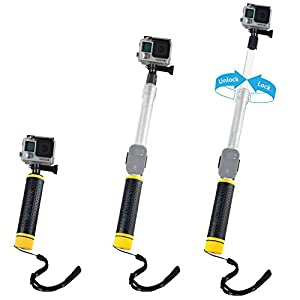 "Waterproof Telescopic Pole and Floating Hand Grip in one - For Gopro Hero 6, 5, Black, Session, Hero 4, Session, Black, Silver, Hero+ LCD, 3+, 3, 2, 1 - 6.7"" to 15.7"" - Cradle for Remote"