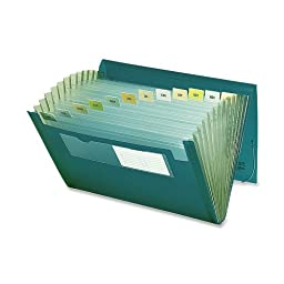 Smead Poly Expanding File, 12 Pockets, Flap and Cord Closure, Letter Size, Green ( 70878)