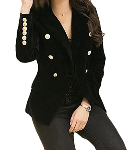 (MLG Women's Slim Fit Double Breasted Velvet Office Blazer Coat Jackets Black US XL)