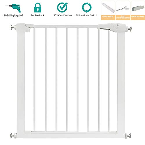 OLDWANG Stair Gates for Dogs Baby Gate Dog Flap Safety Indoor Quality Pressure Fitted with Stage Catch and Bottom Security Stop Pet Cat Effective Barrier Pets Extensions AvailableStandard Edition ()