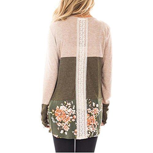 SKY Mujeres La Sra costura de manga larga de encaje floral de la camisa camiseta Long Sleeve Shirt Loose Casual Blouse Top Caqui