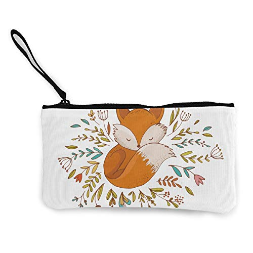 TLDRZD Fox Sleeping in A Floral Made Bed Circle Wallets for Women Card Holder Zipper Purse Phone Clutch Wallet Wristlet with Wrist Strap ()
