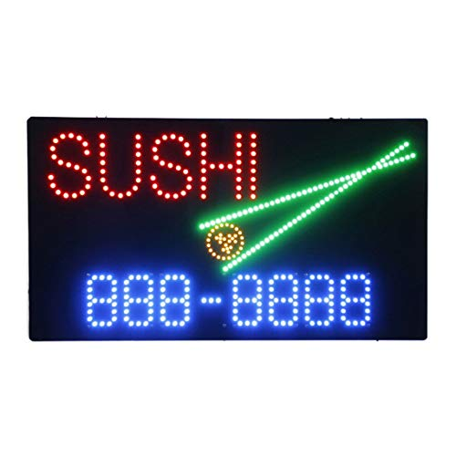 HIDLY LED Sushi Bar Open Light Sign Super Bright Electric Advertising Display Board for Japanese Food Dishes Eatery Cuisine Fusion Restaurant Business Shop Window Home Bedroom 31 x 17 inches (Japanese Food Led Sign)