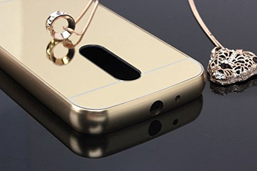 classic fit 798b6 5e979 iSAVE New Luxury Metal Bumper Acrylic Mirror Back Cover Case For Moto G  Plus 4th Gen ( G4 Plus / G 4th Generation ) - MIRROR GOLD