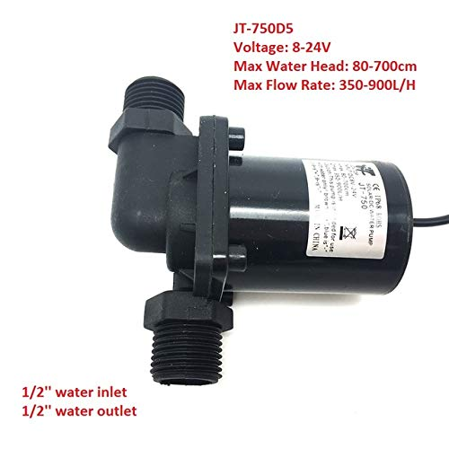 Micro Submersible Water Pump DC 12V 24V Low Noise Solar Brushless Pump Max 7M 900L H,1