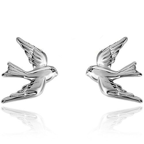 YAN & LEI Sterling Silver Vintage Swallow Birds Stud Earrings