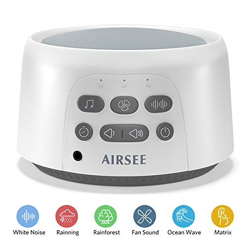 AIRSEE White Noise Machine - Portable Sound Machine with 24 Non-Looping Soothing Sounds for...
