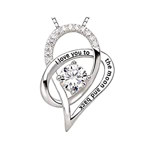 """Heart Necklace for Women Pendant - """"I Love You to the Moon and Back"""" Fashion Jewelry - Perfect for Love Gift Birthday Valentines Christmas"""