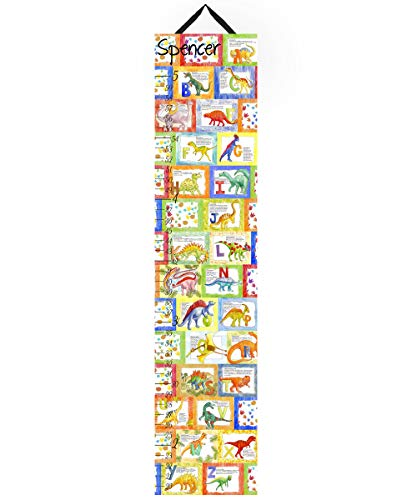 Toad and Lily Canvas Growth Chart ABC Alphabet Dinosaurs Kids Bedroom Baby Nursery Wall Art GC0178 (Chart Personalized Growth Dinosaur)