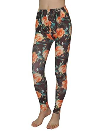 Eterno Womens Fashion Floral Print Stretchy Skinny Pants Leggings One Size Multicolor
