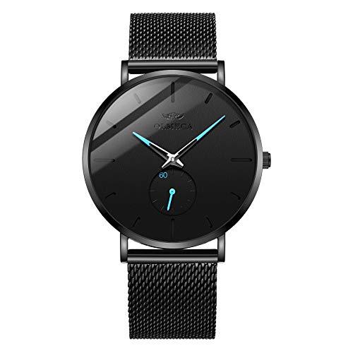 OLMECA Men's Watches Fashion Simple Watches Ultra Thin Wristwatches Waterproof Quartz Women Watches Chronograph Watch for Men 0901-QHLDwd