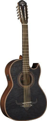 Oscar Schmidt 10 String OH32SE Acoustic-Electric Bajo Quinto with Deluxe Gig Bag-Quilt Trans Black