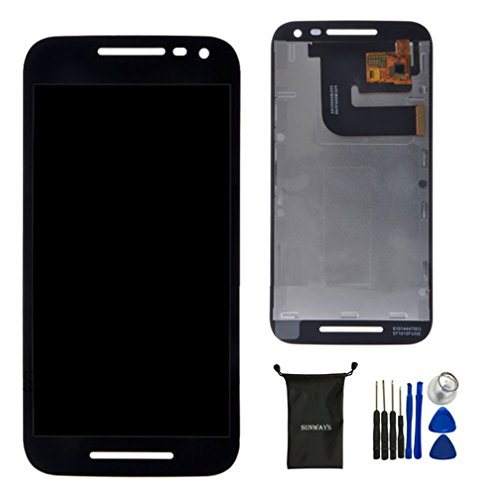 Sunways Black LCD Display Digitizer Touch Flex Cable Glass Lens Screen Replacement For Motorola MOTO G 3rd Gen 2015 G3 XT1552 XT1550 XT1548 XT1541 XT1540 With device opening tools