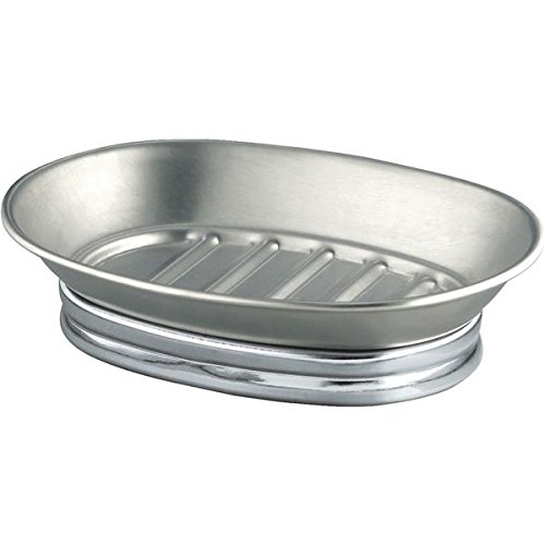 InterDesign York Metal Soap Dish - Perfect for Bathrooms, Showers or Kitchen Sinks -  Stainless Steel/Split Finish