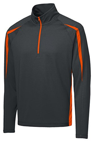 Sport-Tek Sport-Wick Stretch 1/2-Zip Pullover>M Charcoal Grey/ Deep Orange