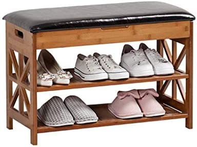 靴ラックノルディックレザーパッド交換靴スツールシンプルな木製ソファスツールアメリカンカントリーホワイエフリップ収納キャビネット、2層、52/70/90 CM ++ (Size : 70x32x49cm)