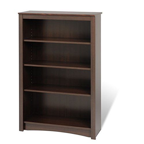 Bookcase / Bookshelves, Adjustable Shelving 4-shelf Bookcase E-3248-ELL in Laminated Composite Wood Material , Assembly Required by Prep
