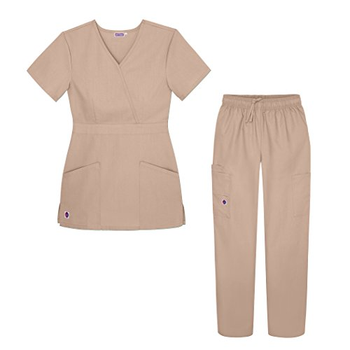 Sivvan Womens Scrub Set - Multi Pocket Cargo Pants & Stylish Mock Wrap Top - S8401 - KKI - 2X ()
