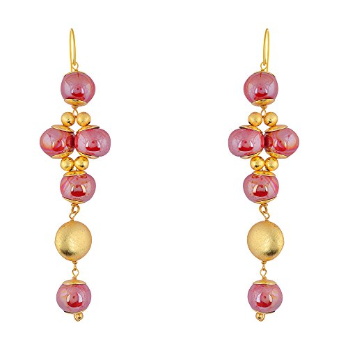 Shaze Gold Colored Scarlet Glow Earrings for Women by shaze