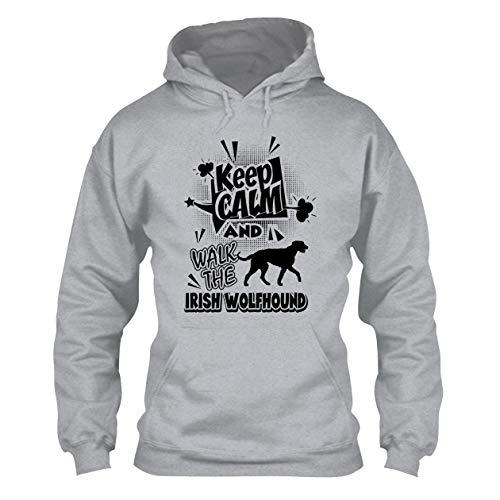 All White Walk The Irish Wolfhound Hoodie, Adult Hooded Sweatshirt Design Grey,M