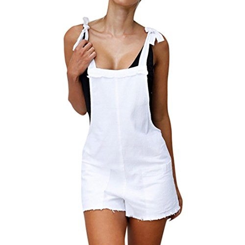 Litetao Women Girl Short Romper Straps Work Jumpsuits Overalls Pants Casual Playsuits (S, White)