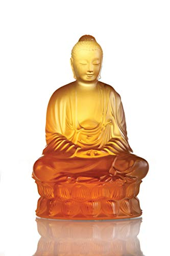 Lalique Crystal Small Buddha Sculpture Amber (Amber Lalique Crystal)