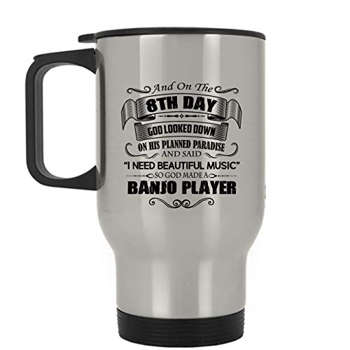 Banjo Stainless Steel Mug - Banjo Player Travel Mug, Travel Mug - Silver