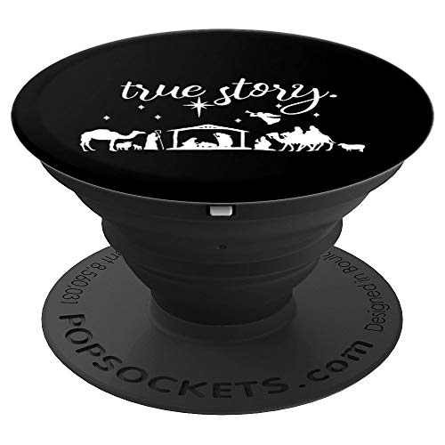 True Story Nativity Christmas Gift Christian Jesus Manger - PopSockets Grip and Stand for Phones and Tablets