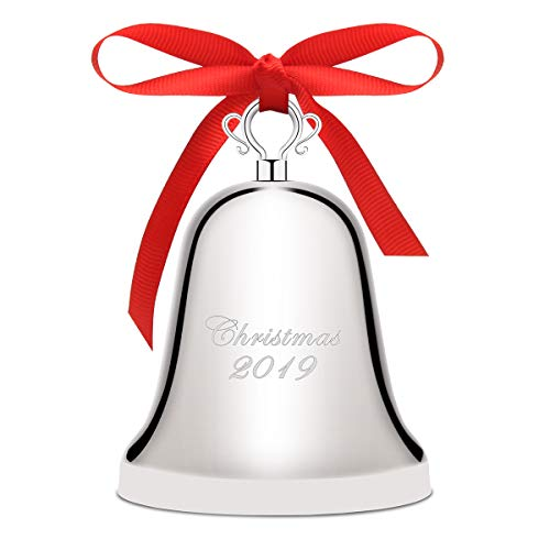 Luxiv Annual Christmas Bell 2019, Silver-Plated Bell Ornament for Christmas Anniversary Bells with Gift Box and Red Ribbon (Silver-Plated, 2019) (& Christmas Reed Barton Ornaments)