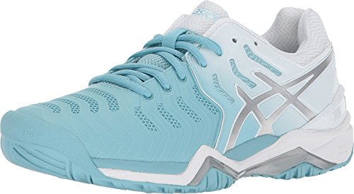 ASICS Womens Gel-Resolution 7 Sneaker, Porcelain Blue/Silver/White, Size 5.5