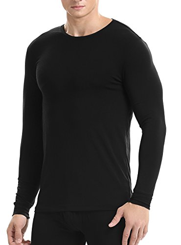 David Archy Mens 2 Pack Long Base Layer Undershirts Underwear Crew Neck Thermal Tops
