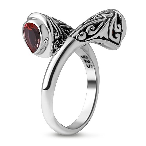 Chuvora 925 Sterling Silver Filigree Garnet Rhodolite Stone Band Ring Women Jewelry Size 8 ()