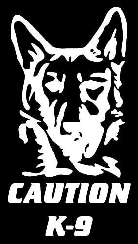 Car window toolbox Caution K-9 German Shepard Decal and laptop sticker