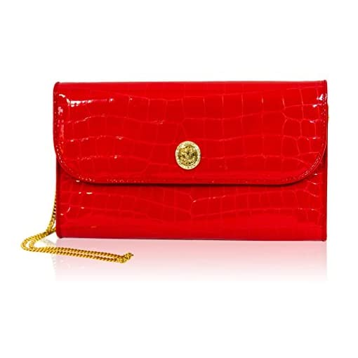 b603140a3e25 Valentino Orlandi Italian Designer Red Croc Embossed Leather Wallet Clutch