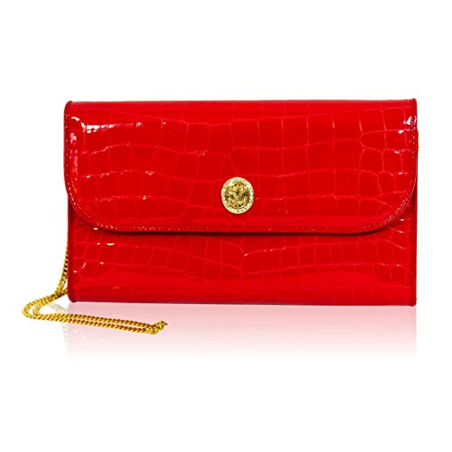 Valentino Orlandi Italian Designer Red Croc Embossed Leather Wallet Clutch by Valentino Orlandi