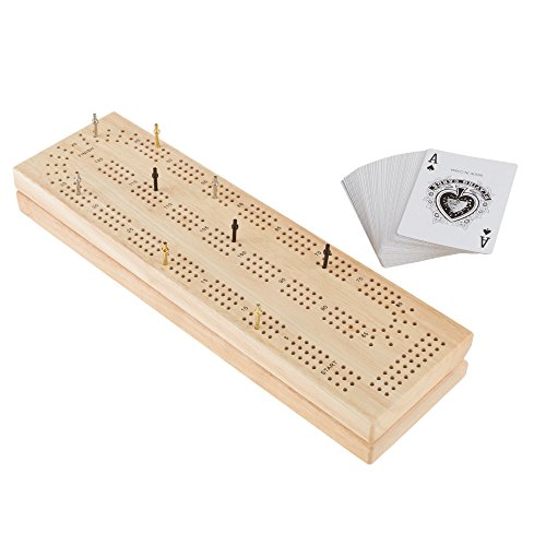 Wood Cribbage Board Game Set- Complete Set With Playing Cards, Pegs, Wood Board and Storage Area for Adults and Kids, Boys and Girls by Hey! (Cribbage Board Toys)